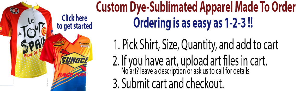 Dye sublimation shirt styles - click here to get started