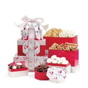 Celebrate the Season Gourmet Sweets & Treats Tower Red-Silver